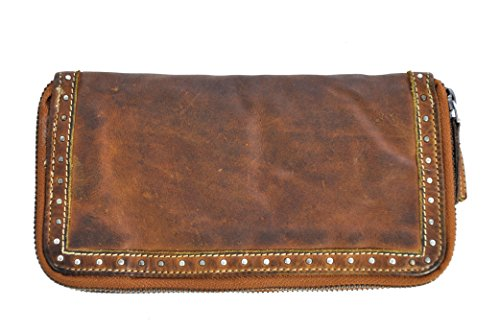 Doppel-portemonnaie (Damen Geldbörse lang mit Doppel-Reißverschluss Voll-Rind-Leder Jockey Club Shabby Chic Used Optik Vintage Style cognac)