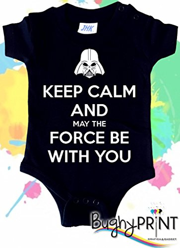 BODY tutina pagliaccetto bimbo neonato Star Wars Darth Vader May the force be with you 12 mesi