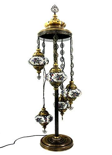 Orientalische Türkische Tiffany Glasmosaik Turkish Asiatisch Handgefertigte Mosaik Glas Boden Lampe Innenleuchte Orientalische Lampe Glas Stehlampe Bodenlampe 5 Lichter Glasgröße 2 (Bunt-Blau) -
