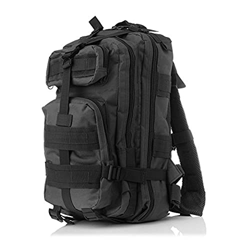 Minetom Jungen Herren 30L Camouflage Rucksack Laptop-Rucksack Rekkingrucksäcke Für Outdoor Wandern Camping Trekking Jagd Schwarz One Size