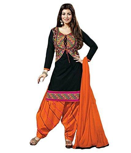 jashvi creation Women\'s cotton Dress Material (JC_Dress_996_black&orenga)