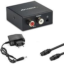 Convertidor Digital a Analógico, AMANKA DAC Audio Óptico Coaxial(RCA) Toslink SPDIF a