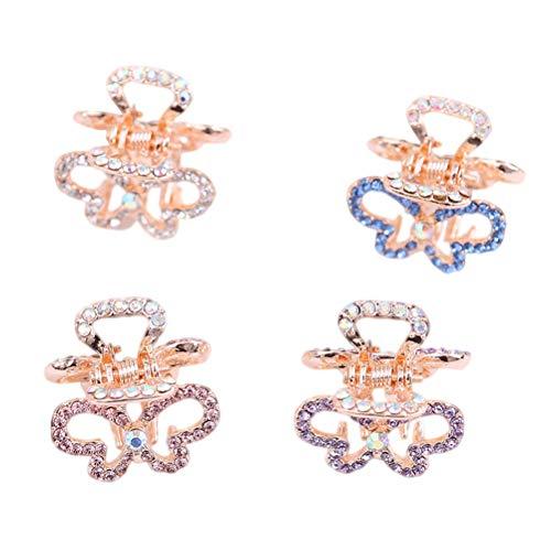 Mini-butterfly-clips (Lurrose 4pcs Mini Hollow Butterfly Shaped Haargreifer Kristall Haarspangen Clips Octopus Haarspangen mit Perlen)