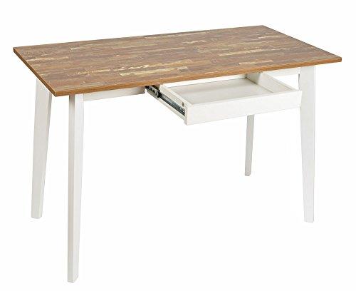 ts-ideen Ess-Tisch Schreibtisch Arbeitstisch Küchentisch Weiß Holz Landhaus 75 x 116,5 cm