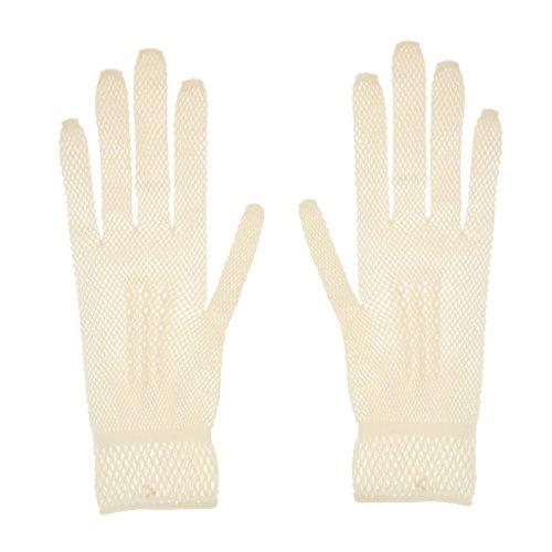 Sharplace Elegant Netzhandschuhe Hochzeit Spitze Fischnetz Handschuhe für Erwachsene - Beige