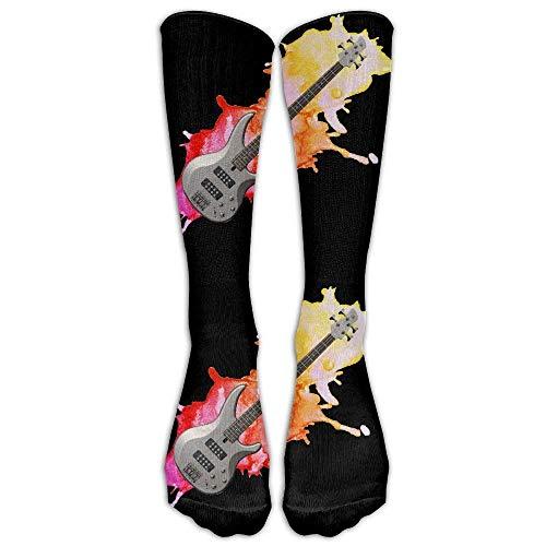 Bass Guitar Watercolor Splash Casual Unisex Sock Knee Long High Socks Sport Athletic Crew Socks One Size Bass Loafers Men