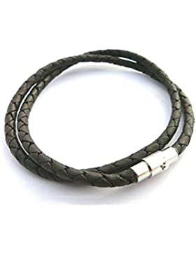 Lederkette Lederschmuck Ledercollier geflochten, Lederband schwarz, Durchmesser ca. 5mm, Länge ca. 80cm von ESM24