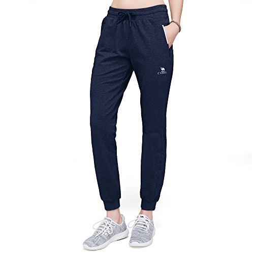 CAMEL CROWN Damen Jogginghose mit Taschen Weiche Kordelzug Sweatpants für Gym Jogging Lounging, Damen, Marineblau, Large -