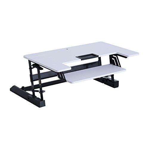 Homcom Sitz Steh Computertisch Schreibtisch Erhöhung Tischaufsatz Höhenverstellbar, Stahl+MDF,...