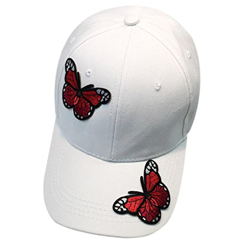 Womens Hats, SHOBDW Women Men Couple Butterfly Baseball Cap Unisex Snapback Hip Hop Flat Hat (White)