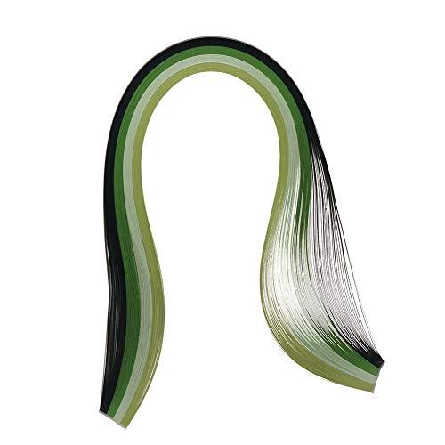 Teabelle DIY Papierstreifen 3 mm breit Origami Papier QuillingSterne Farbverlauf Mixed Farbe Deko Handwerk 100 Streifen, Grün -