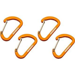 munkees 2 x Flacher Mini Karabiner klein - Mehrzweckkarabiner mit Schnappverschluss, Ø 3 x 25 x 40 mm s (4 Stück), Orange, 325139