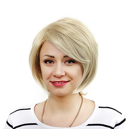 Perruque Blonde Femme feiXIANG Vrai Cheveux Naturel Postiche Cheveux Chignon Blond Perruque Synthétique Bresilienne Postiche courte