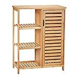 Viagdo Bamboe opbergruimte, badkamerkasten met 3 opbergplanken en kast met luide deur, dressoir zijkast voor woonkamer, keuken, badkamer opbergruimte, 66 x 33 x 87 cm