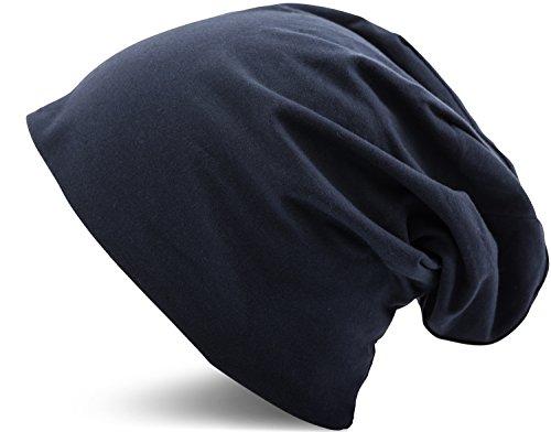 Jersey Baumwolle elastisches Long Slouch Beanie Unisex Mütze Heather in 35 verschiedenen Farben (3) (Dark Blue)