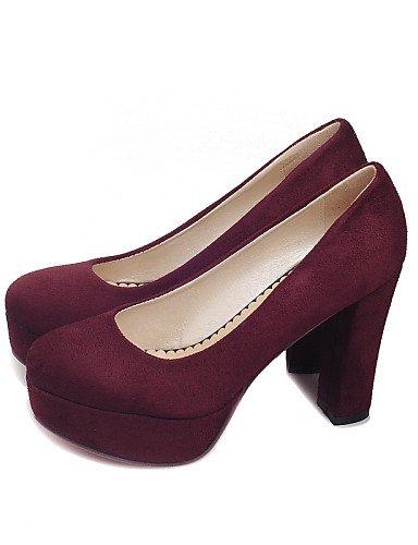 WSS 2016 Chaussures Femme-Bureau & Travail / Décontracté-Noir / Bleu / Bordeaux-Gros Talon-Talons / A Plateau / Confort / Bout Fermé-Talons-Laine burgundy-us8.5 / eu39 / uk6.5 / cn40