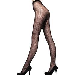 Medias para mujeres 12D cortan moda tendencia pequeña pesca red impresión pura Control Top Panti Med Negro (Negro D)
