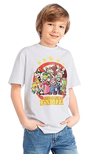 Nintendo Super Mario T-Shirt - The original Family - Weiß/Mehrfarbig