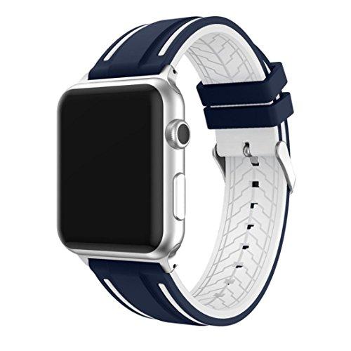 LeeHur Correa Apple Watch 42mm Series 1 / 2 Ajustable, Correa de Reemplazo Silicona Suave con Hebilla Flexible para Reloj iWatch, Banda con Estilo Deportivo, Sport Band para Apple Watch, Azul y blanco