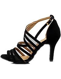 Mujer Latino Zapatillas De Baile Salsa Aterciopelado Sandalia Interior Profesional Principiante Entrenamiento Hebilla Tacón Stiletto Negro