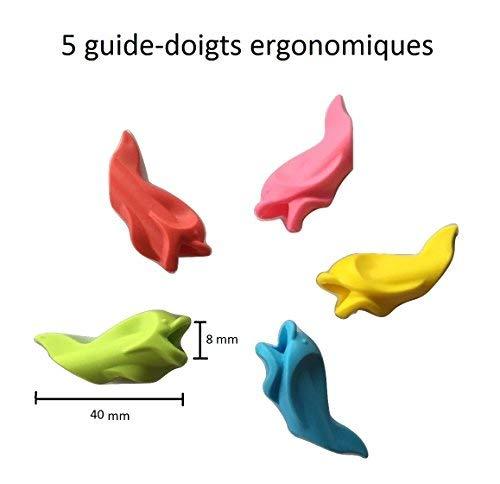 Smart School - Pack de 5 correctores para sujetar bien el lápiz - Forma de delfín - Varios colores