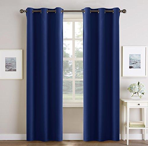 Pony dance tende bambini blu con occhielli tendaggi lunghi per finestre soggiorno camera da letto tessuti termica spessi anti zanzare (106 x 210 cm, 1 paio)