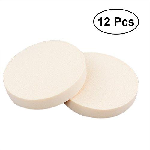 Frcolor 12 Pièces ronde Éponges de maquillage, poudre pour visage Mélangeur de beauté sec et humide pour le cosmétique (grande taille, couleur de peau)