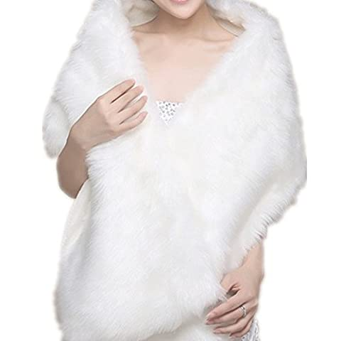 EQLEF® Boléro Pour Mariage Blanc en fausse fourrure Wrap Châle