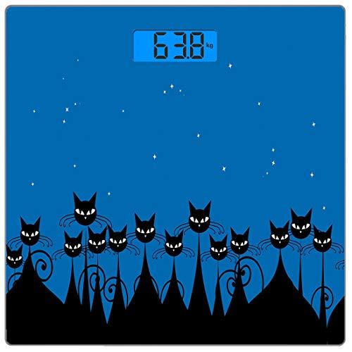 Precision Digital Body Weight Scale Nacht Ultra Slim gehärtetes Glas Personenwaage Genaue Gewichtsmessungen, künstlerische Grafik Menge von stilisierten schwarzen Katzen und Sternenhimmel auf dem Hint