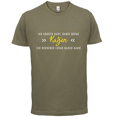Ich arbeite hart, damit meine Katzen ein besseres Leben haben kann - Herren T-Shirt - 12 Farben Khaki