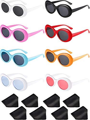 8 Paare Schlagkraft Oval Brille Retro Kurt Mod Dicken Rahmen Runde Linse Sonnenbrille Brille Mehrfarbig für Damen Männer (Farbe A)