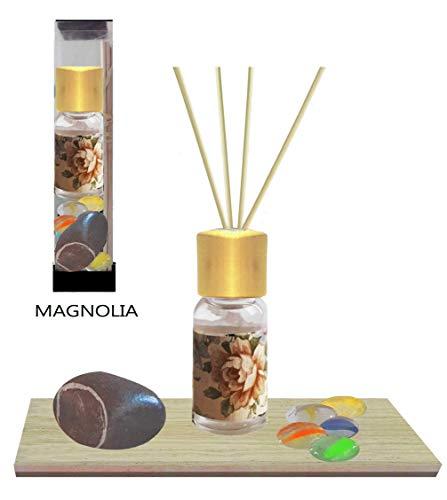 """Raumduft Diffuser """"Aqua Magnolia"""" Rattanstäbchen Vintage Flasche Öl Diffusor magnolia - Italienische Fliese Fluss Steine Glas Edelsteine Raumlufterfrischer Wohnkultur Geschenkbox Weihnachtsgeschenk"""