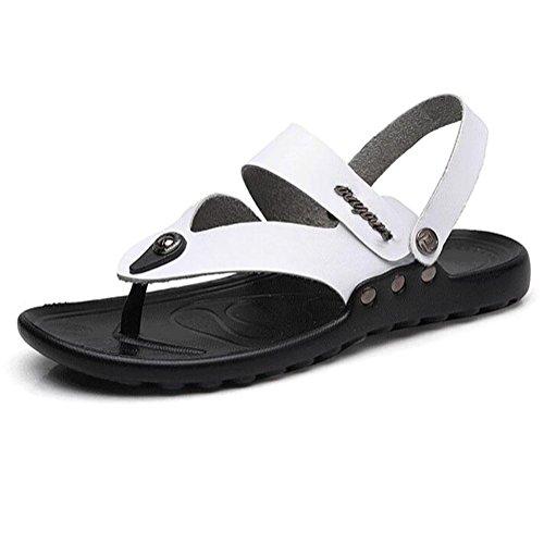 Couro Mens Sandálias Flip-flops Praia Casuais Brancos