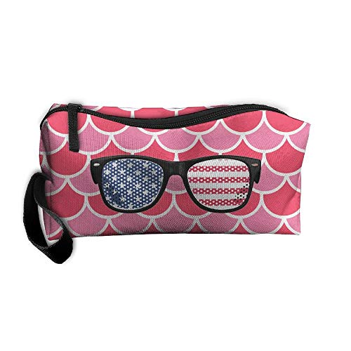American Flag Aviator Sunglasses Makeup Bag/Travel Cosmetic Bag/Brush Pouch Case With Zipper Carry Case