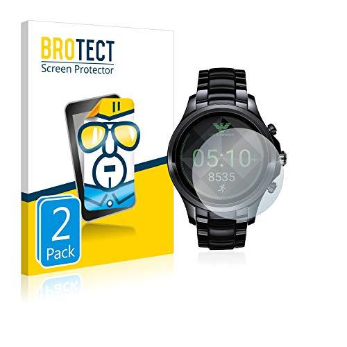 BROTECT Schutzfolie kompatibel mit Emporio Armani Connected Touchscreen 5000-Series [2er Pack] klare Bildschirmschutz-Folie