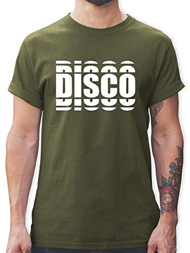 Festival - Disco in Grafischem Muster - XXL - Army Grün - L190 - Herren T-Shirt und Männer Tshirt