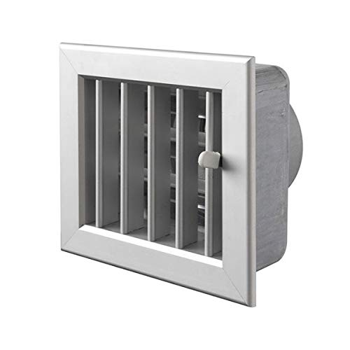 Gitter ausgesparten weißen 140x130mm Lüftungseinlass 100 mm. Kamin, komplett mit Dämpfer und Mund, weiß. (Gitter-dampfer)