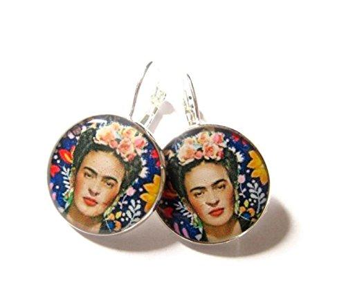 Frida Kahlo Ohrringe, Frida Kahlo Schmuck, baumeln Ohrringe, Blau, Blume, mexikanischen Schmuck Ohrringe, Frida Kahlo Geschenk