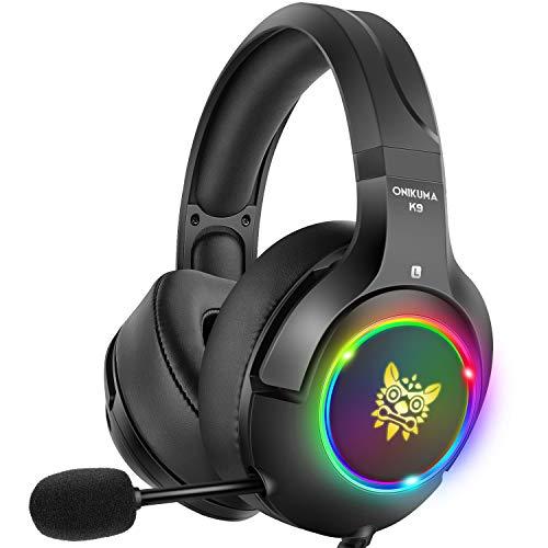 DIZA100 Gaming Headset für PS4 Xbox One PC, Gaming Kopfhörer mit Noise Cancelling Mikrofon Buntes LED-Licht Bass Surround für Nintendo Switch Laptop Smartphones (Black) -