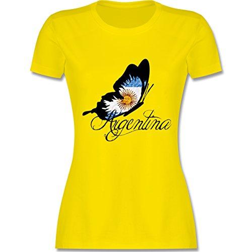 Länder - Argentina Schmetterling - tailliertes Premium T-Shirt mit Rundhalsausschnitt für Damen Lemon Gelb