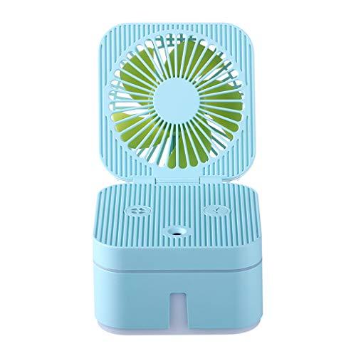 CHshe Rubik 'S Cube Fan Luftbefeuchter Mit Atmosphäre Lampe Büro Tragbare Luftreinigung Luftbefeuchter Fan Mini Fan Tragbarer Ventilator (Blau)