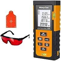 Telémetros láser de Distancia 40M, Alta Precisión de ±1.5mm,2 Niveles de Burbuja,Morpilot Medidor Laser Incluye Placa de Objetivo y Gafas de Protección,Para Medición de Distancia, Área, Volumen, Pitágoras