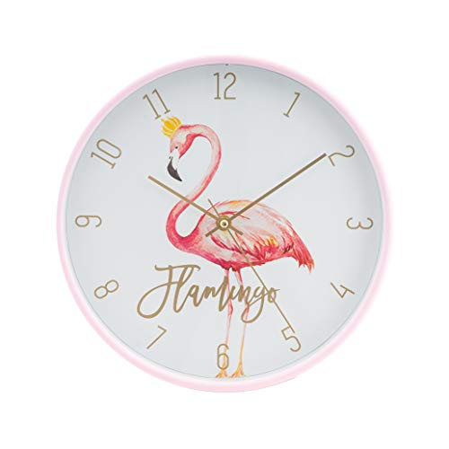 LUUK LIFESTYLE hochwertige, Moderne, Schlichte Minimal Quarz Wanduhr Flamingo mit Sekundenzeiger, Küchenuhr, Vintage Wohnzimmer Uhr, pink