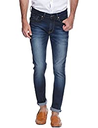 Spykar Mens Dark Blue Super Skinny Fit Low Rise Jeans (Actif) (38)