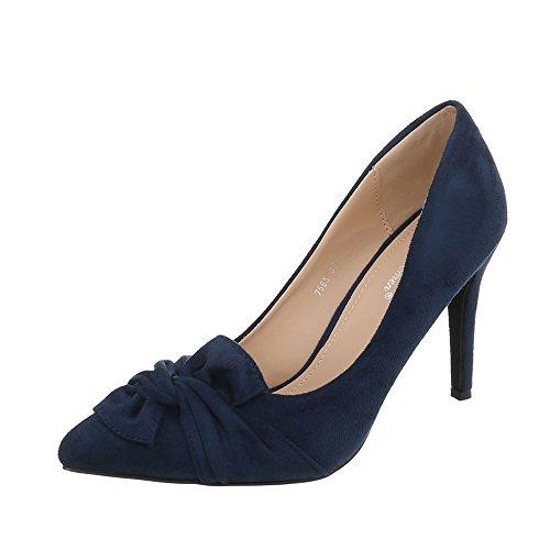 Ital-Design High Heel Pumps Damen-Schuhe Pfennig-/Stilettoabsatz Heels Dunkelblau, Gr 36, 7565-