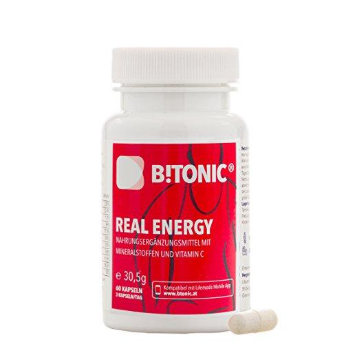 Integratore Alimentare Energizzante per Contrastare la Stanchezza | Anti-Stress | A Base di Oligoelementi, Minerali e Vitamina C | Vegan & Senza Glutine | B!TONIC Real Energy - 60 Capsule