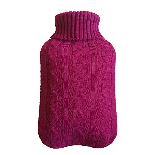 Milnut Wärmflaschenbezug Stricken Geeignet für 2-Liter Wärmflasche Lila Bezug für Wärmflasche