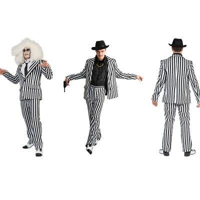 Generique - Kostüm schwarz weiß gestreifter Anzug für Erwachsene