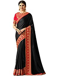 KAMELA SAREE women's silk material Black Colour embroidery Party wear saree With designer Blouse