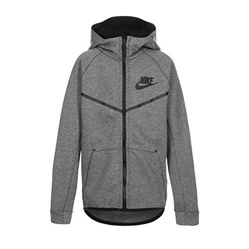 Nike Tech Fleece Windrunner Jungen Kapuzenjacke Carbon Heather Black, FR (Größe Hersteller: XS) -